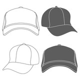 Baseball Cap Outline Silhouette Template isolated on white. Vector