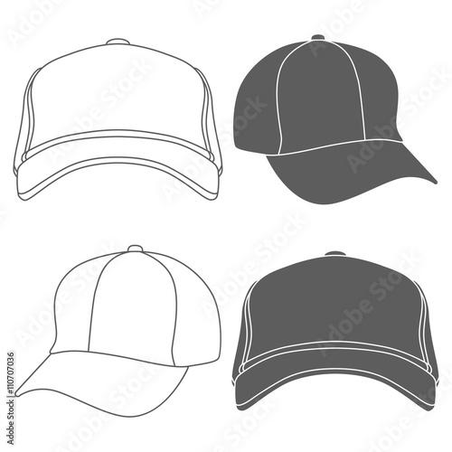 baseball cap outline silhouette template isolated on white vector