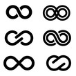 Vector black infinity icons set