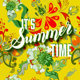 It is summer time yellow lettering background. Vector illustrati