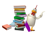 cute Hen cartoon character with books
