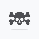 Crossbones and skull death flat icon. Vector illustration.