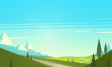Natural landscape with mountains. Vector illustration.