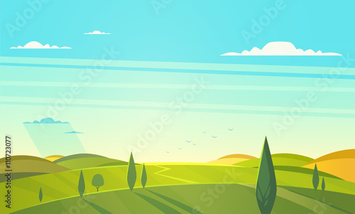 Foto op Plexiglas Turkoois Valley landscape. Vector illustration.
