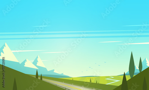Papiers peints Turquoise Natural landscape with mountains. Vector illustration.