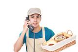 受話器を持つパン職人