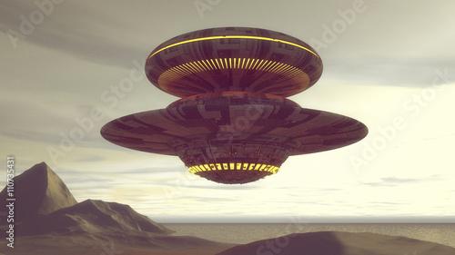 Naklejka 3d render. Futuristic spaceship UFO