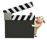 Sheep cartoon character with clapboard