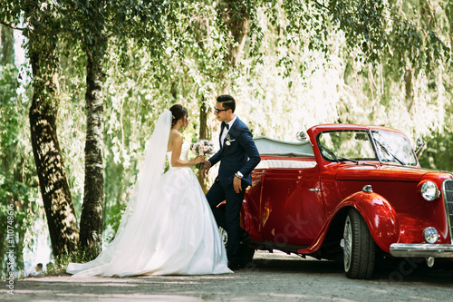 Stylish couple under tree in the wedding day Poster