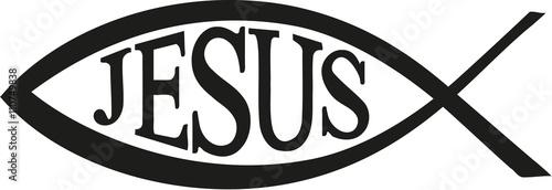 Naklejka Jesus Fish christian with word Jesus