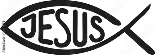 Fototapeta Christian fish with jesus word