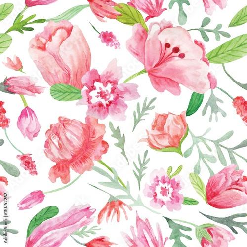 Fototapeta Romantic Watercolor Summer pattern