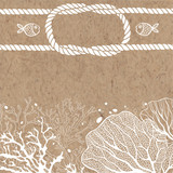 Vector background with marine plants, fish and marine ropes on on kraft paper