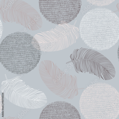 Seamless pattern with hand-drawn feathers and circles. - 110758226