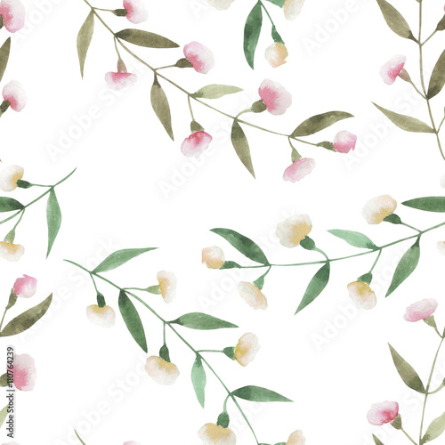 Seamless floral pattern with the watercolor simple pink abstract flowers, hand drawn on a white background - 110764239