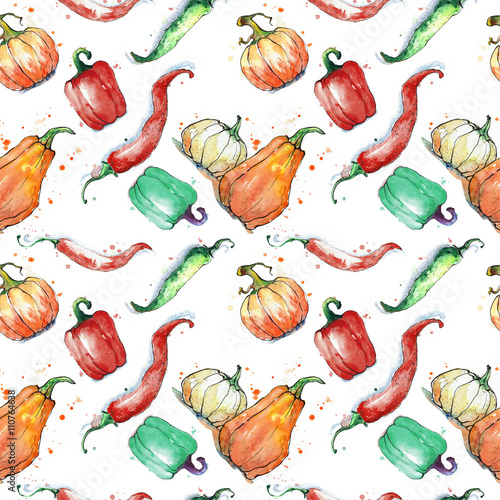 Fototapeta Seamless pattern with vegetables: pumpkin, paprika, pepper. Hand drawing watercolor. Stroke is made with ink.