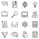 Set of linear vector web icons education and learning