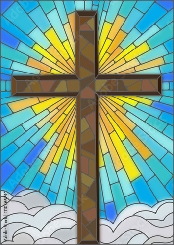 Fototapeta Illustration in stained glass style to cross on a background of sky and clouds