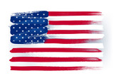 USA American colorful brush strokes painted flag.