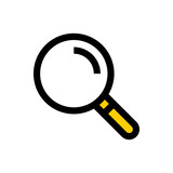 Magnifying glass, search line icon.