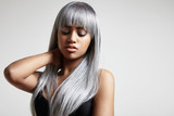 Fototapety woman with a long grey hair. creative color hair