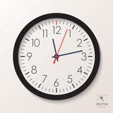 Vector office clock. Classic watch isolated on white background