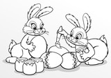 Coloring. Easter bunnies paint eggs. White background