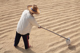 farmer drying rice grain on ground