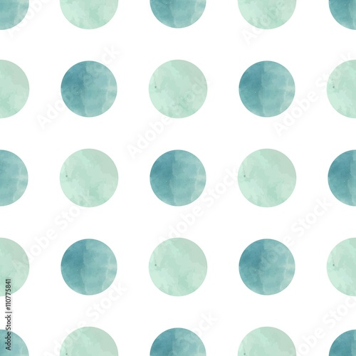 Tapeta Watercolor texture. Seamless pattern. Watercolor circles in pastel colors on white background. Pastel colors and romantic delicate design. Polka Dot Pattern. Fresh and Mint Colors.