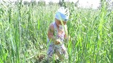 a kid plays in a field of grain