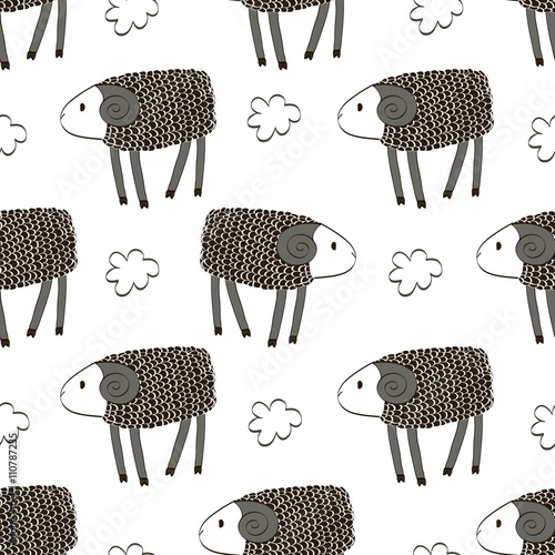 Seamless pattern with cute flying lambs. Bright childish background. - 110787235