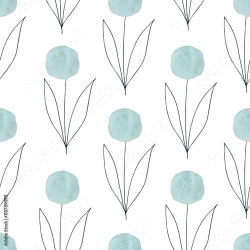 Watercolor texture. Seamless pattern. Watercolor circles in pastel colors with handdrawn flowers, branches, floral elements on white background. Delicate mint and blue colors and romantic design. - 110789098