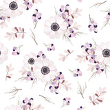 Vector seamless pattern with flower bouquet.Anemone branches and berries. - 110795892
