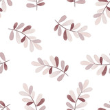 Vector seamless pattern with branches of leaves. Nature seamless pattern - 110796025