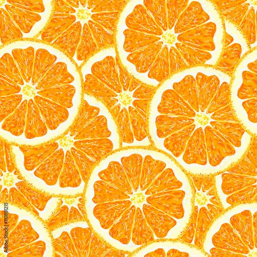 Fototapeta Orange. Seamless pattern orange citrus fruit. Vector illustration