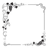 Decorative black square frame with bunch of grapes, grape leaves,  swirls.