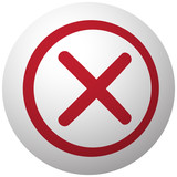 Red Cancel icon on white ball