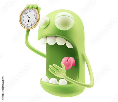 """Alarm Clock Waking Up Emoji Cartoon. 3d Rendering."" Stock ..."