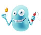 Bomb Emoji Cartoon.  3d Rendering.