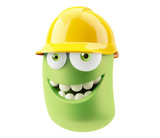 Construction Worker with hard hat yellow Emoticon Face. 3d Rende