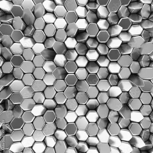 Zdjęcia na płótnie, fototapety na wymiar, obrazy na ścianę : Chrome abstract hexagons backdrop. 3d rendering geometric polygons