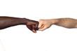 deux poings l'un contre l'autre entre deux hommes de couleurs différentes - 110812060