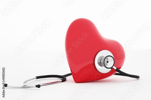 Zdjęcia na płótnie, fototapety, obrazy : 3D rendering stethoscope and heart
