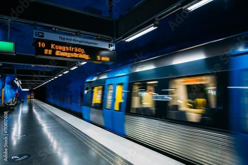 Foto op Canvas Stockholm Modern Stockholm Metro Train Station, Sweden. Underground