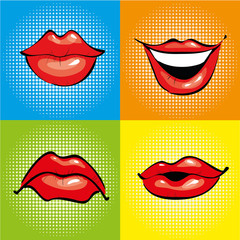 Mouth with red lips in retro pop art style. Vector illustration and comics design icons