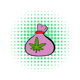 Small bag with buds of marijuana icon comics style