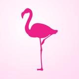 Icono plano flamingo en fondo degradado rosa