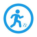 Icono plano futbolista en circulo color azul