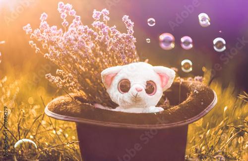 Cute lemour toy in a magic culinder hat. Retro summer background © vitpluz