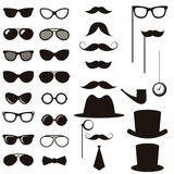 Black retro gentleman elements set